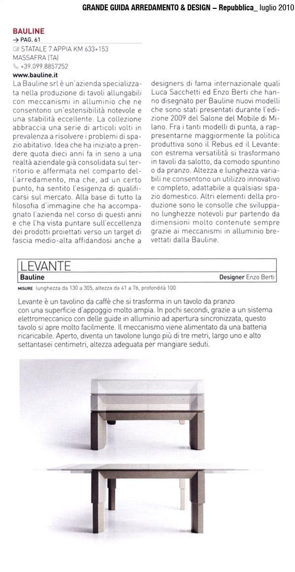 Luglio 2010, Articolo Rivista Arredamento & Design