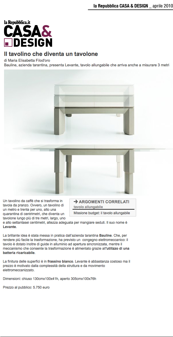 April 2010, Article Casa & Design Magazine