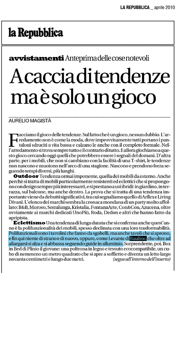 April 2010, Article La Repubblica